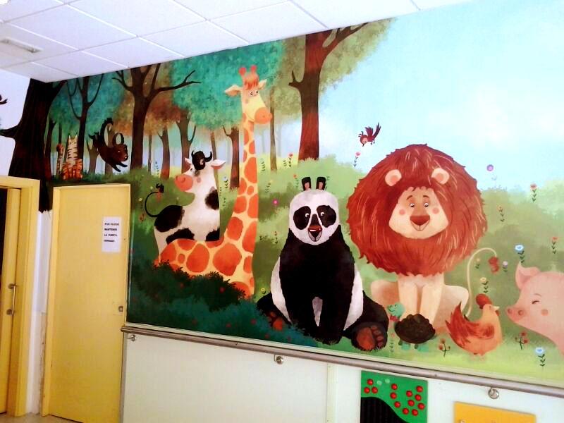 mural recreo,  mercedes palacios  ilustracion